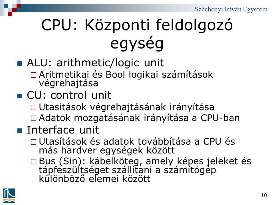 CPU: Központi feldolgozó egység