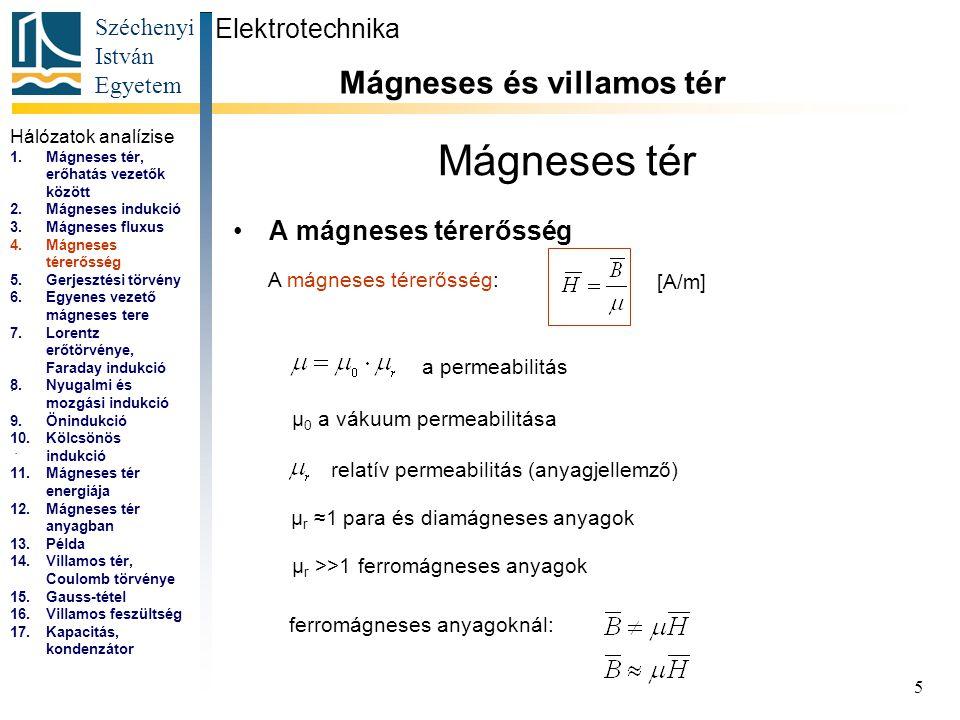 Mágneses tér Mágneses és villamos tér Elektrotechnika