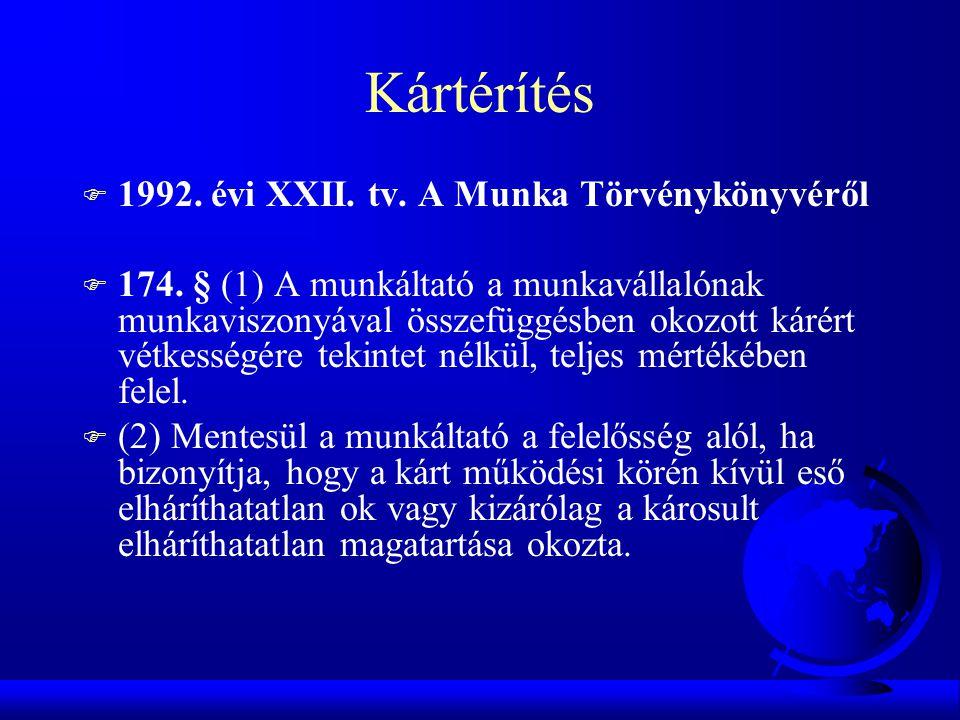 Kártérítés 1992. évi XXII. tv. A Munka Törvénykönyvéről