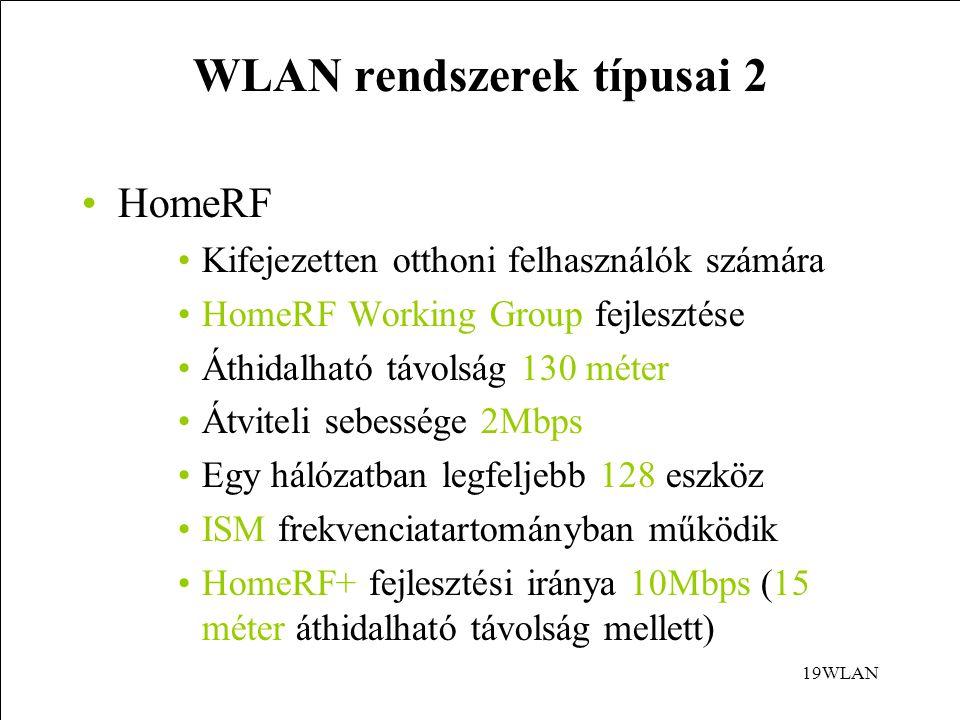WLAN rendszerek típusai 2