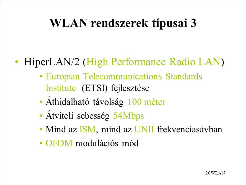 WLAN rendszerek típusai 3