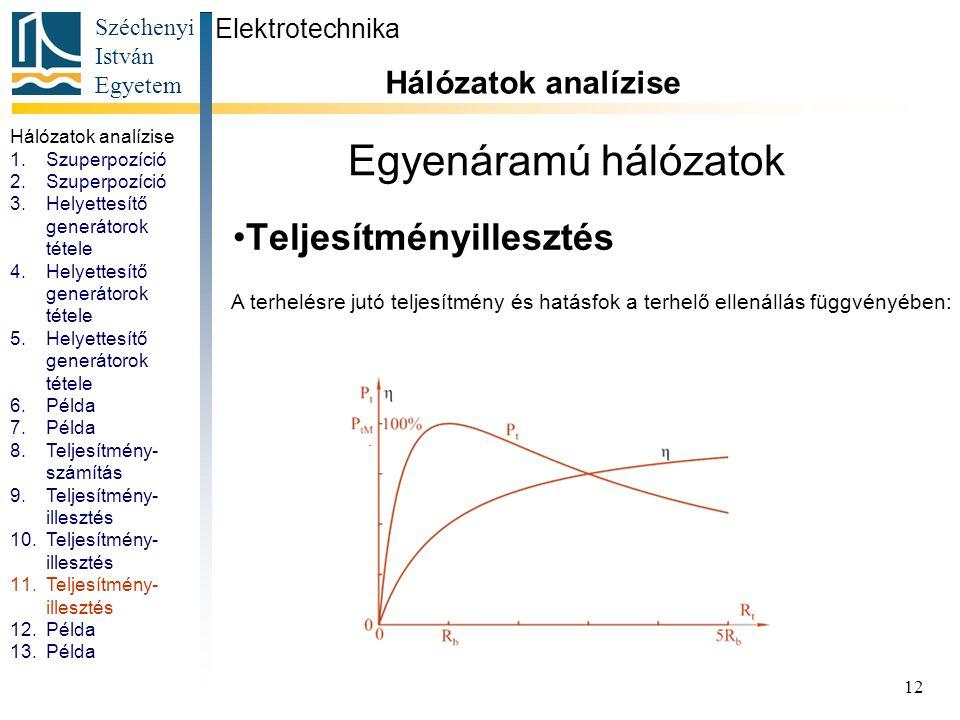 Egyenáramú hálózatok Teljesítményillesztés Hálózatok analízise