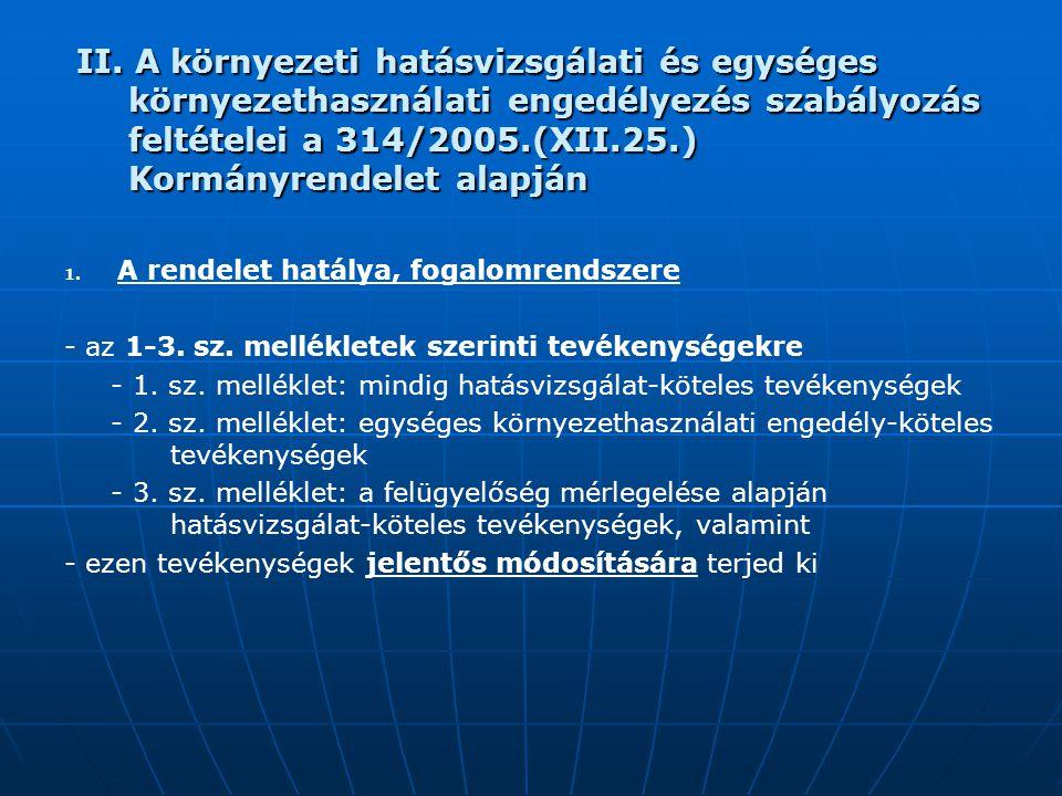 II. A környezeti hatásvizsgálati és egységes környezethasználati engedélyezés szabályozás feltételei a 314/2005.(XII.25.) Kormányrendelet alapján