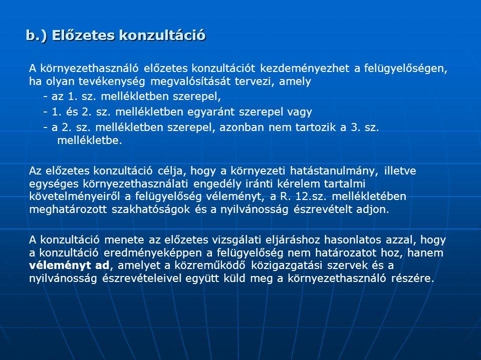 b.) Előzetes konzultáció