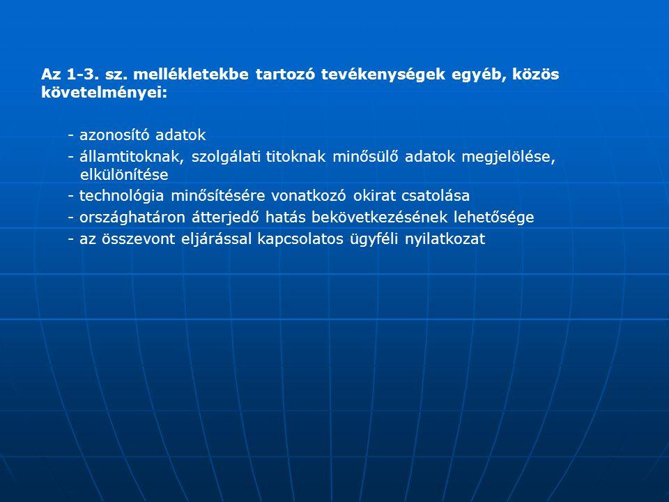 Az 1-3. sz. mellékletekbe tartozó tevékenységek egyéb, közös követelményei: