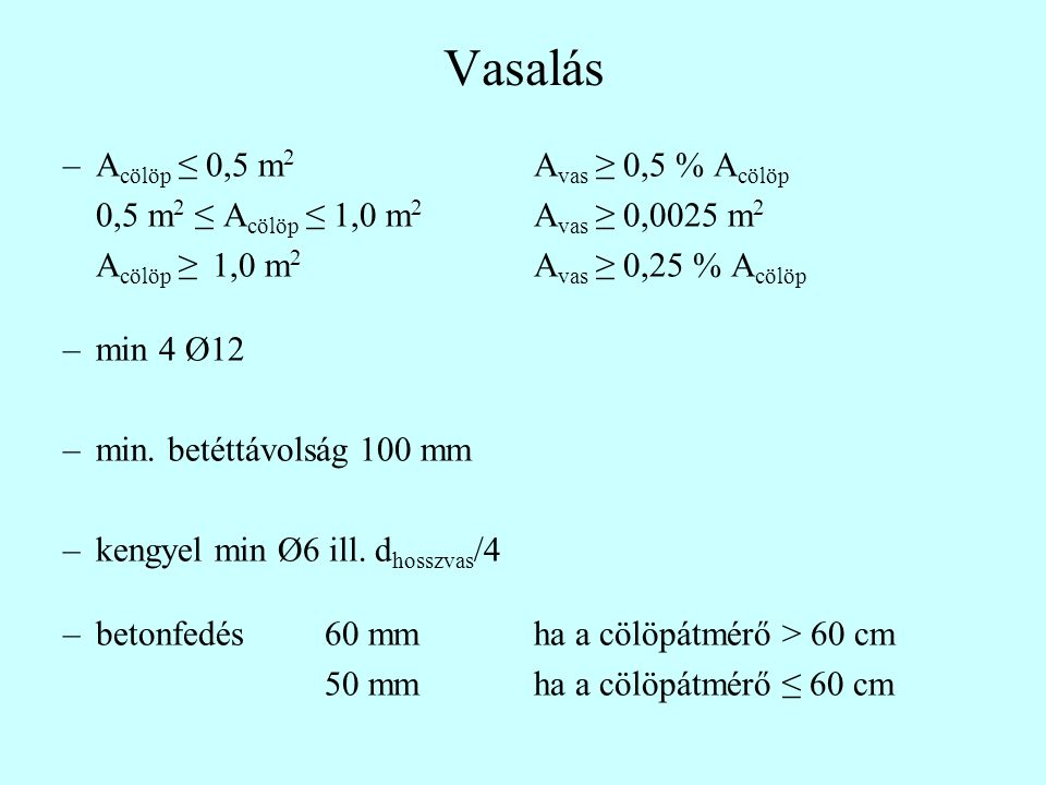 Vasalás Acölöp ≤ 0,5 m2 Avas ≥ 0,5 % Acölöp
