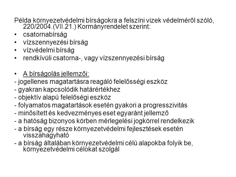 Példa környezetvédelmi bírságokra a felszíni vizek védelméről szóló, 220/2004.(VII.21.) Kormányrendelet szerint: