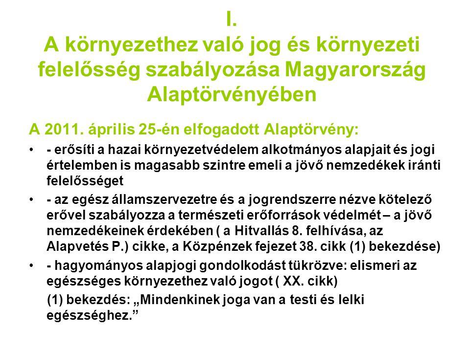 I. A környezethez való jog és környezeti felelősség szabályozása Magyarország Alaptörvényében