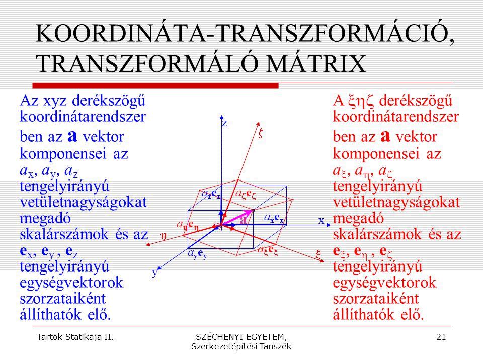 KOORDINÁTA-TRANSZFORMÁCIÓ, TRANSZFORMÁLÓ MÁTRIX