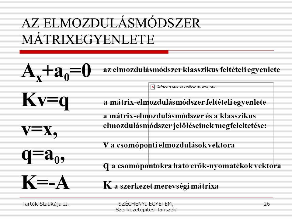 AZ ELMOZDULÁSMÓDSZER MÁTRIXEGYENLETE