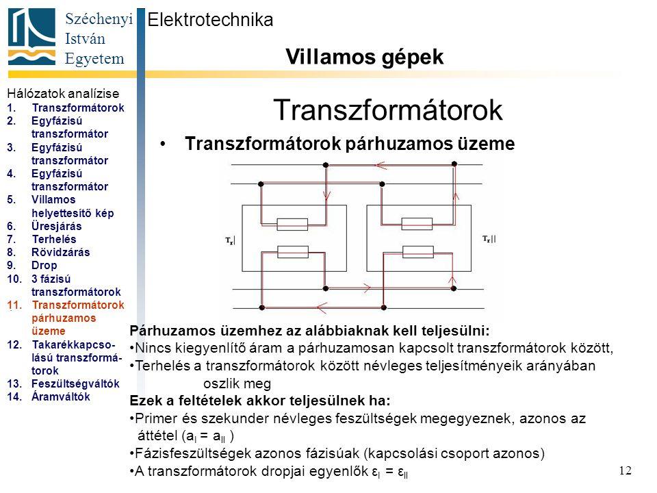 Transzformátorok Villamos gépek Elektrotechnika