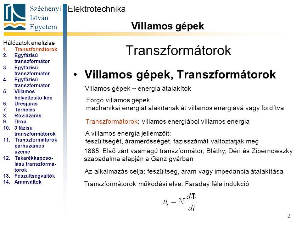 Transzformátorok Villamos gépek, Transzformátorok Villamos gépek