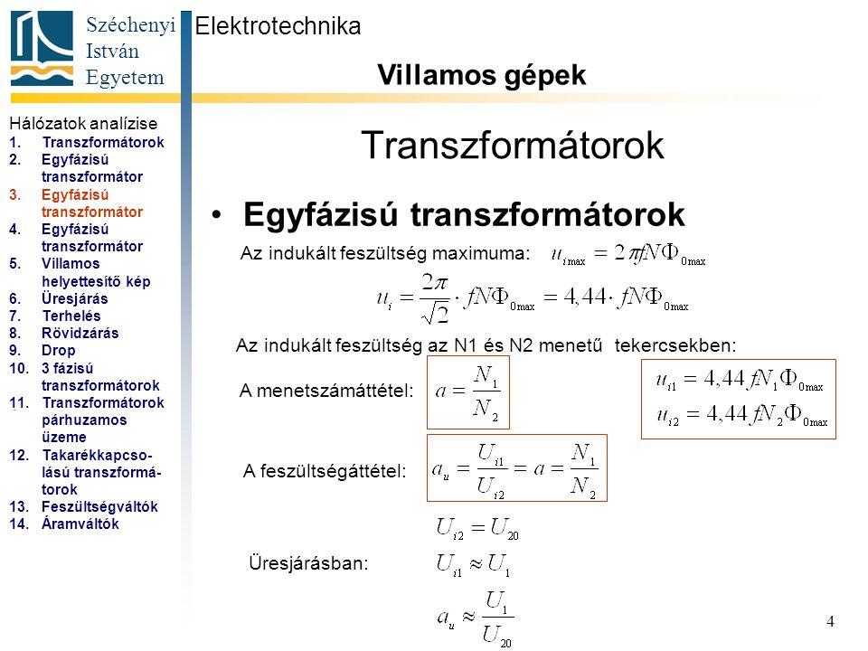 Transzformátorok Egyfázisú transzformátorok Villamos gépek