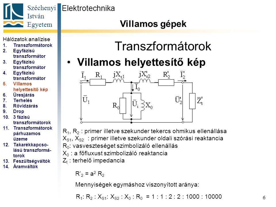 Transzformátorok Villamos helyettesítő kép Villamos gépek