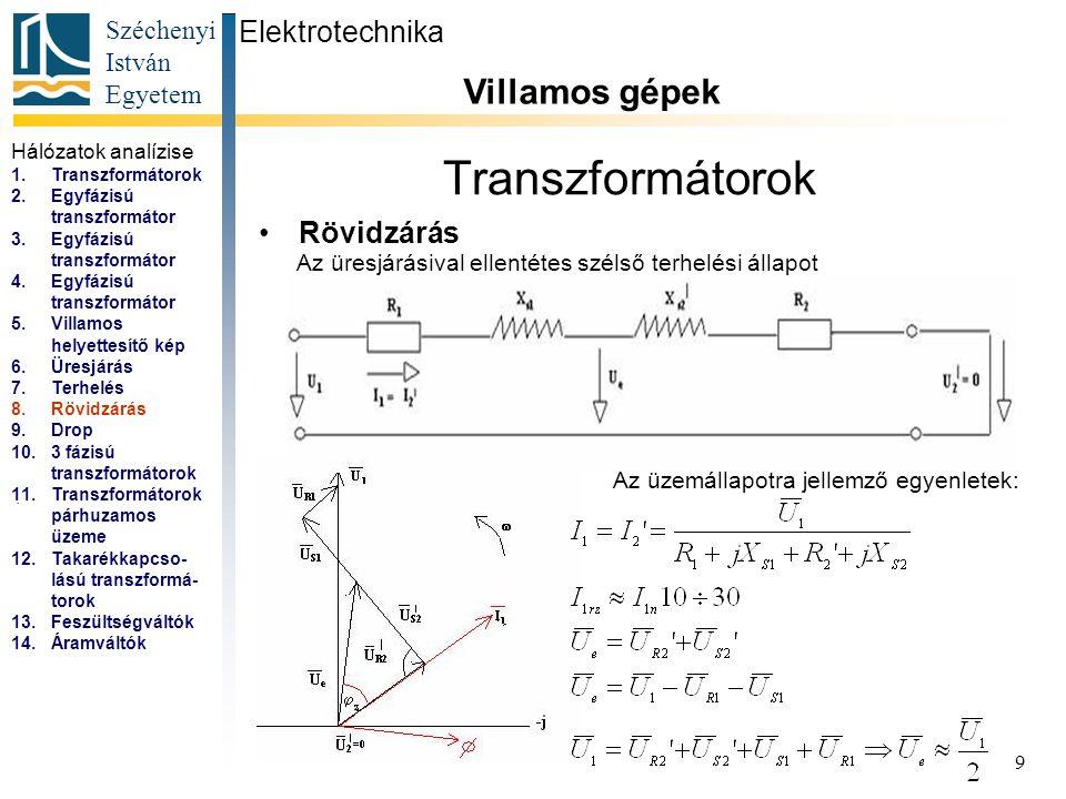 Transzformátorok Villamos gépek Elektrotechnika Rövidzárás