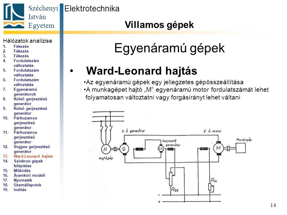 Egyenáramú gépek Ward-Leonard hajtás Villamos gépek Elektrotechnika