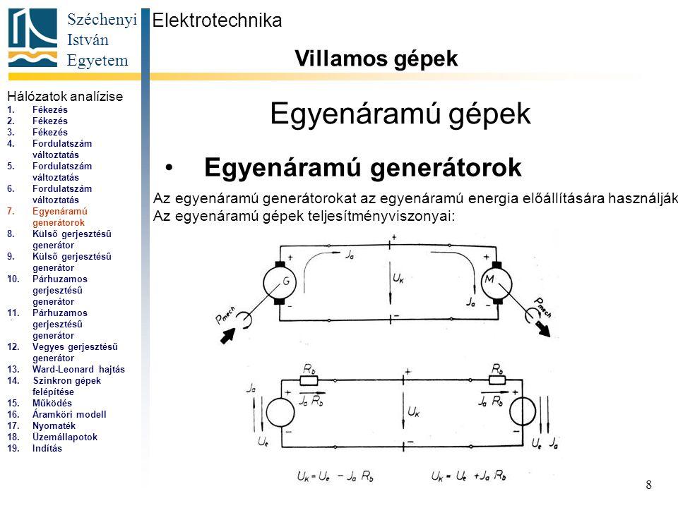 Egyenáramú gépek Egyenáramú generátorok Villamos gépek Elektrotechnika