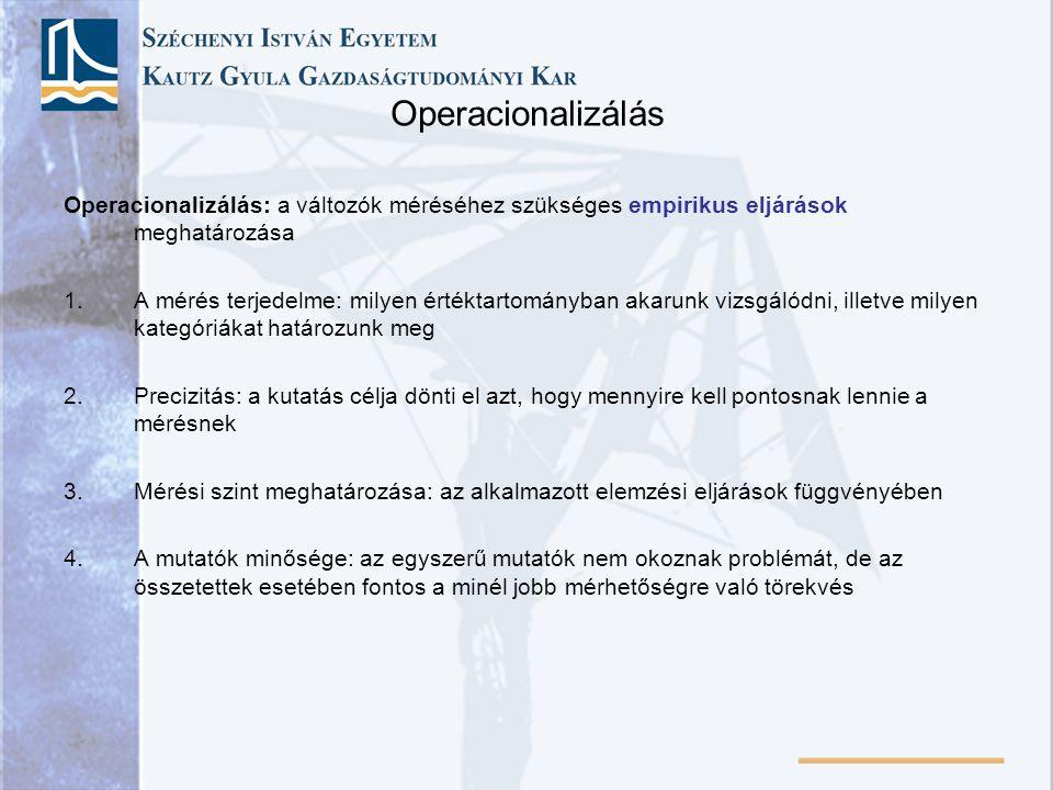 Operacionalizálás Operacionalizálás: a változók méréséhez szükséges empirikus eljárások meghatározása.