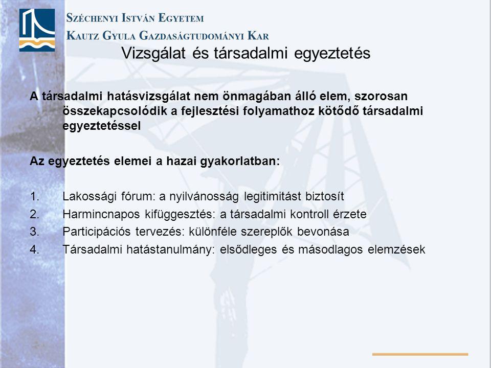 Vizsgálat és társadalmi egyeztetés