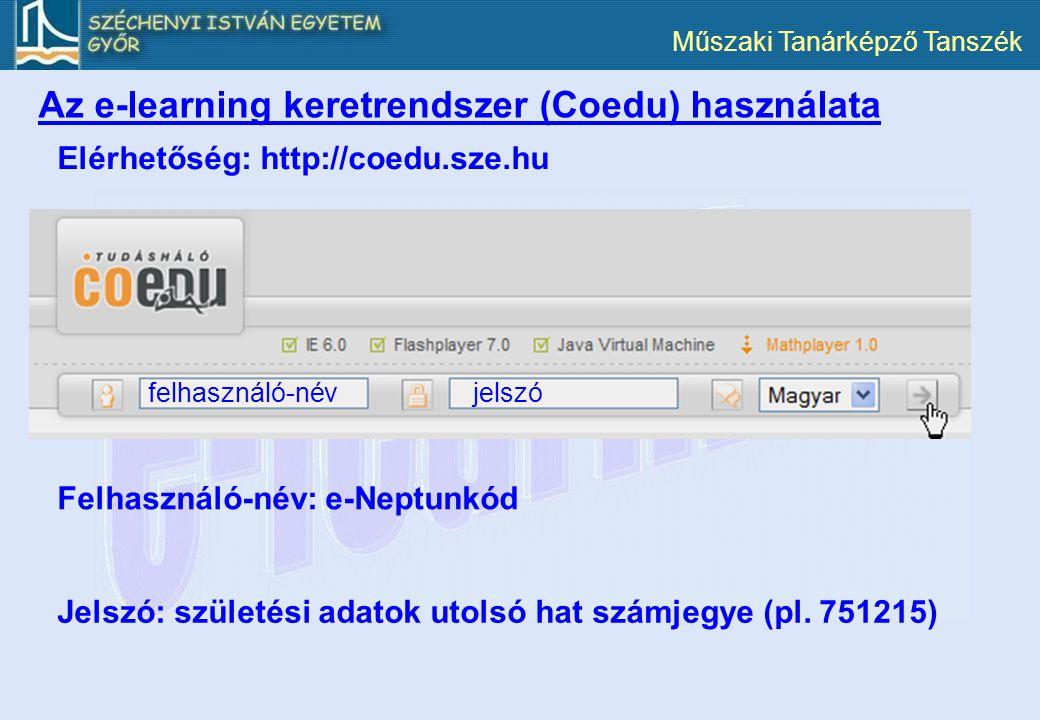 Az e-learning keretrendszer (Coedu) használata