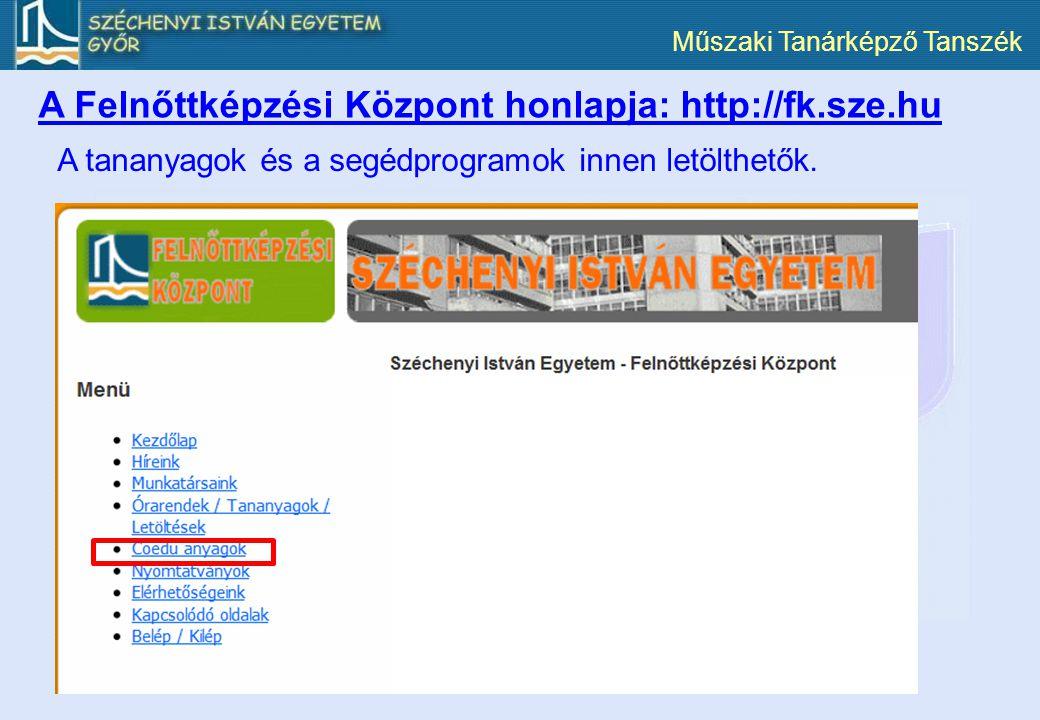 A Felnőttképzési Központ honlapja: http://fk.sze.hu