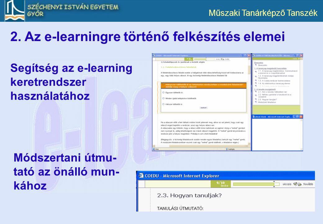 2. Az e-learningre történő felkészítés elemei