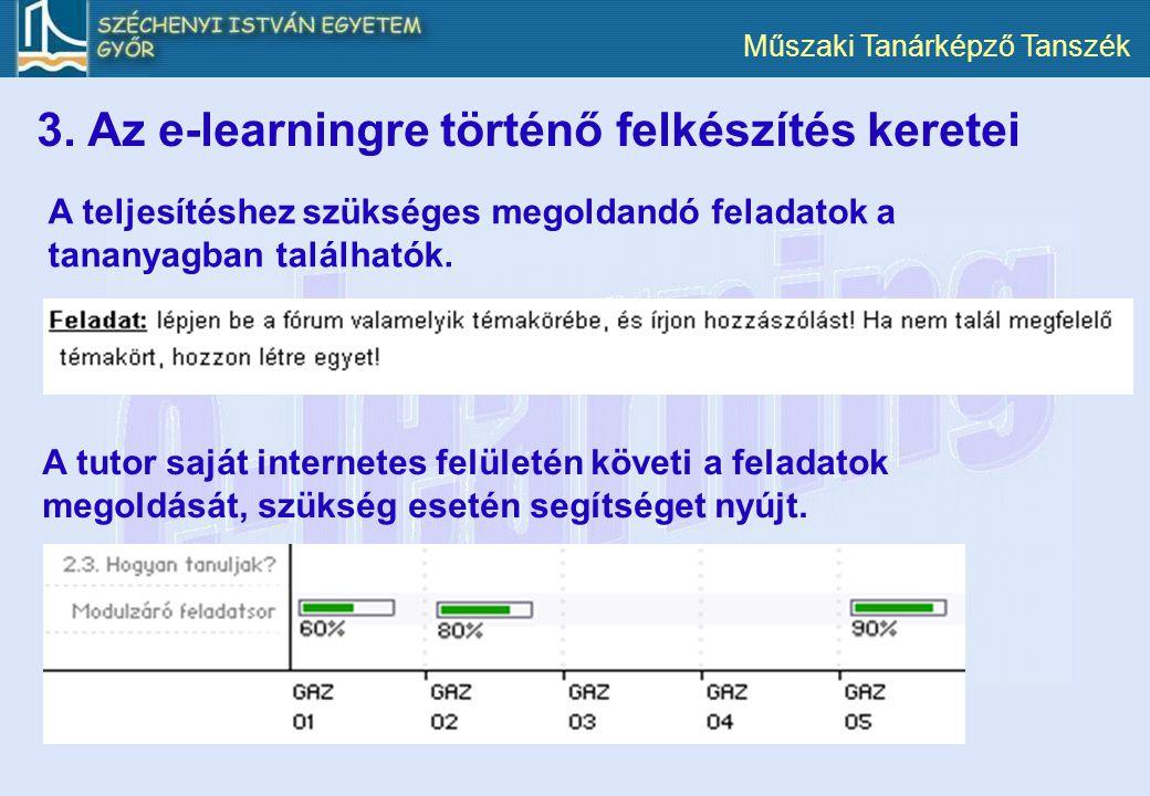 3. Az e-learningre történő felkészítés keretei