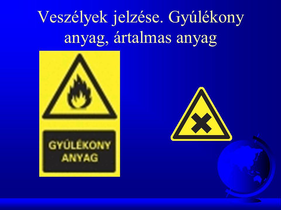Veszélyek jelzése. Gyúlékony anyag, ártalmas anyag