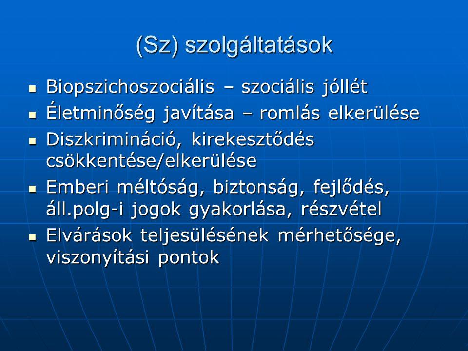 (Sz) szolgáltatások Biopszichoszociális – szociális jóllét