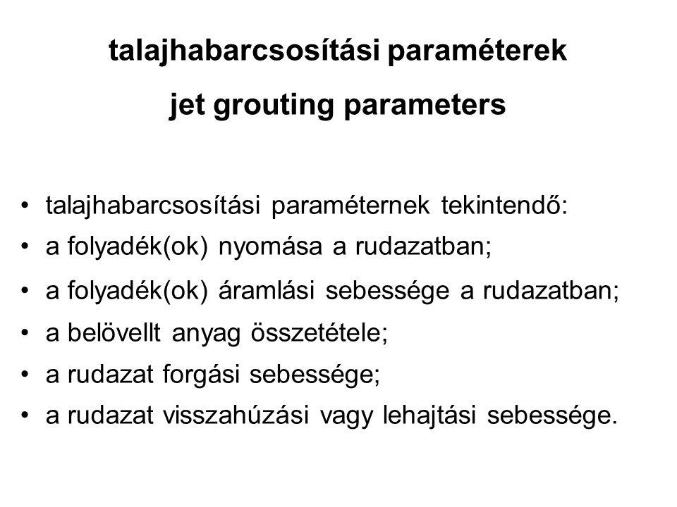 talajhabarcsosítási paraméterek jet grouting parameters