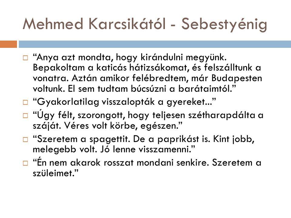 Mehmed Karcsikától - Sebestyénig