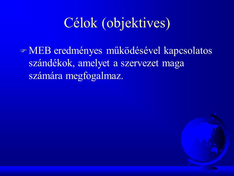 Célok (objektives) MEB eredményes működésével kapcsolatos szándékok, amelyet a szervezet maga számára megfogalmaz.