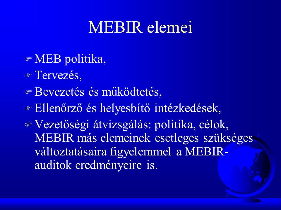 MEBIR elemei MEB politika, Tervezés, Bevezetés és működtetés,