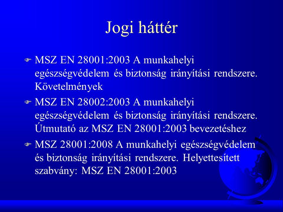Jogi háttér MSZ EN 28001:2003 A munkahelyi egészségvédelem és biztonság irányítási rendszere. Követelmények.
