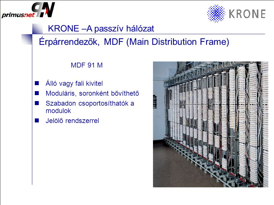 Érpárrendezők, MDF (Main Distribution Frame)