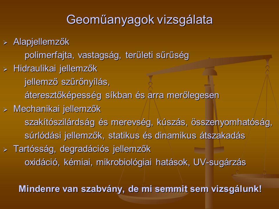 Geoműanyagok vizsgálata