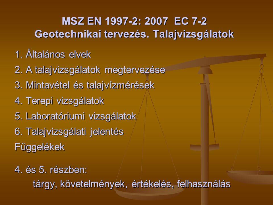MSZ EN 1997-2: 2007 EC 7-2 Geotechnikai tervezés. Talajvizsgálatok
