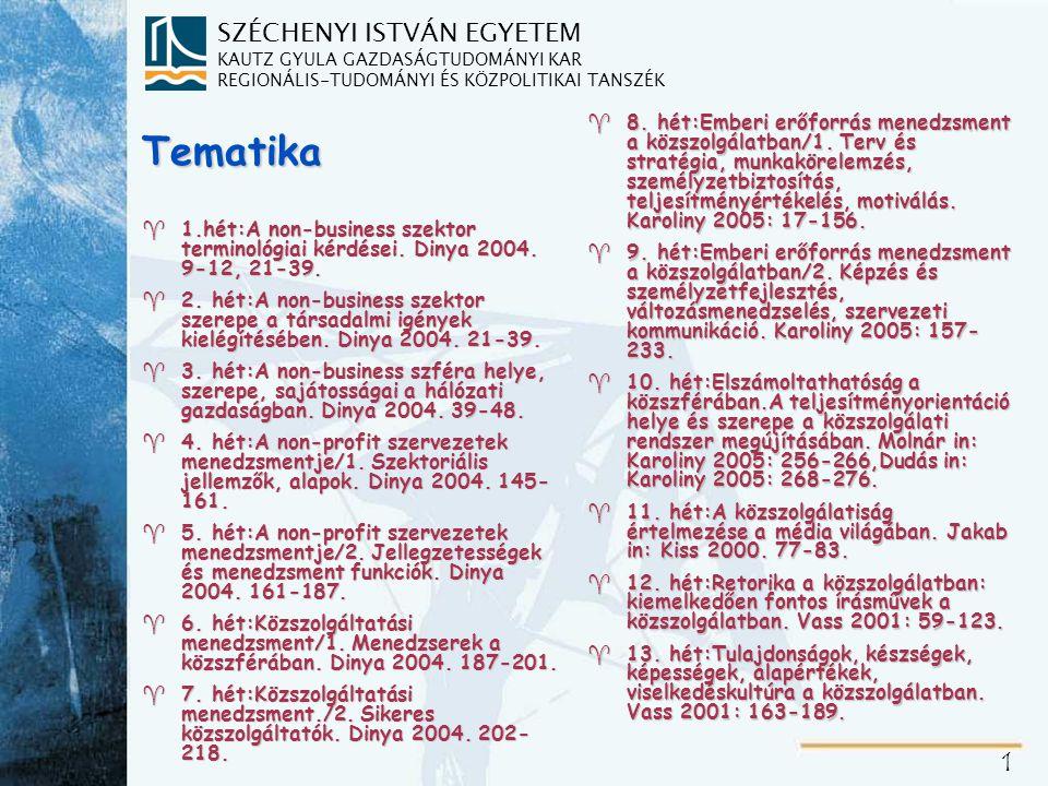 1-2. hét: A non-business szektor terminológiai kérdései