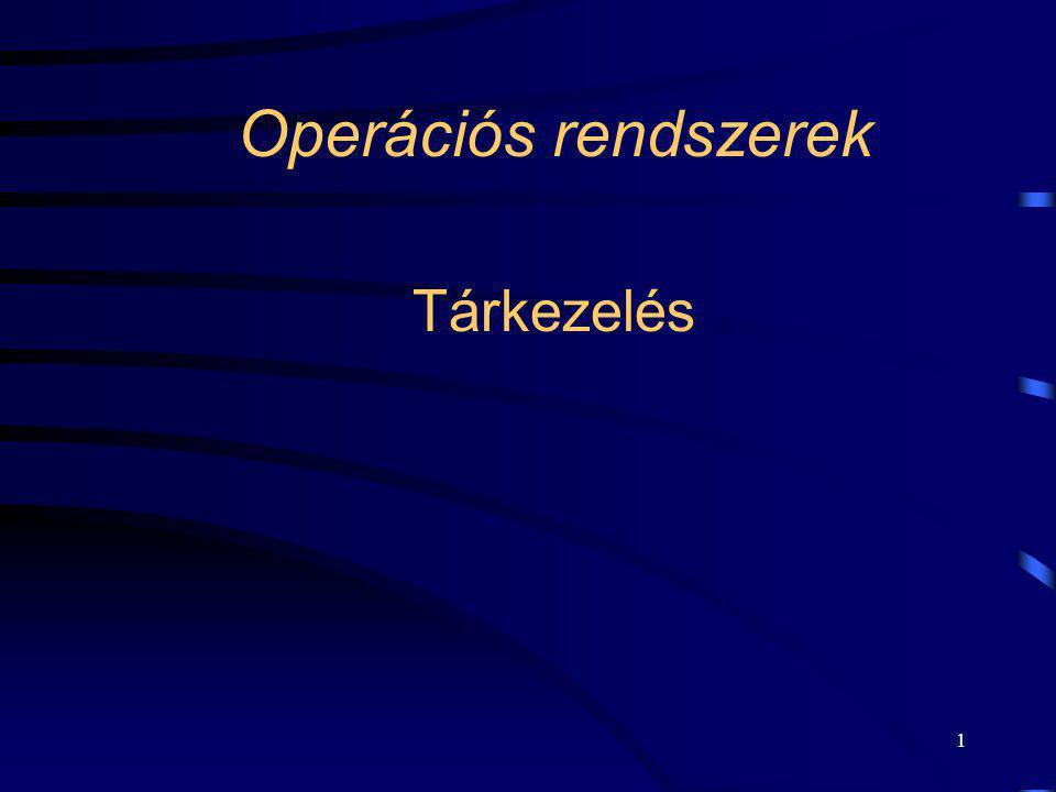 Operációs rendszerek Tárkezelés