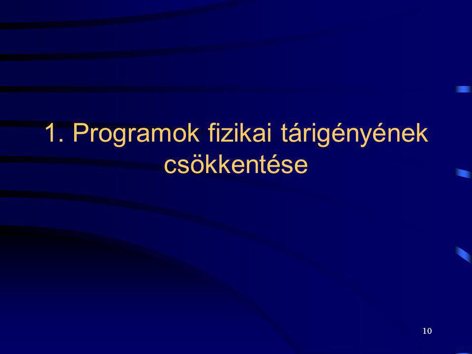 1. Programok fizikai tárigényének csökkentése