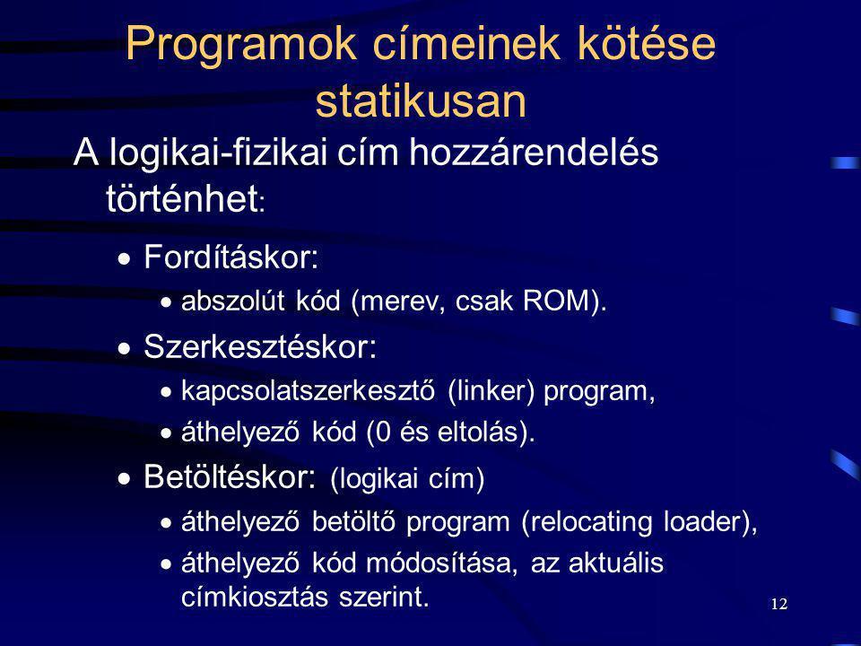 Programok címeinek kötése statikusan