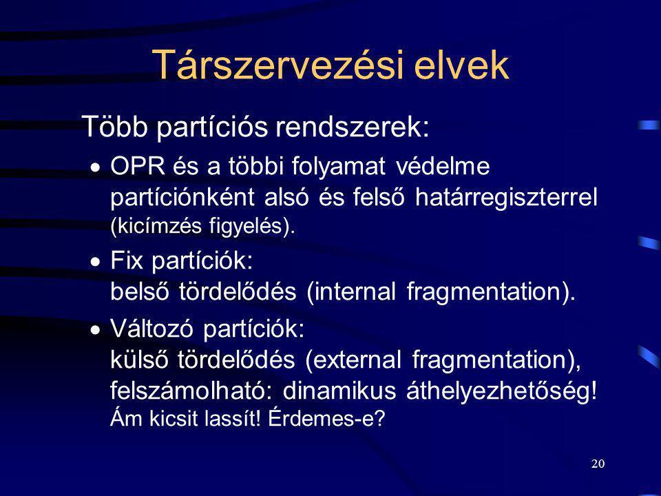 Társzervezési elvek Több partíciós rendszerek:
