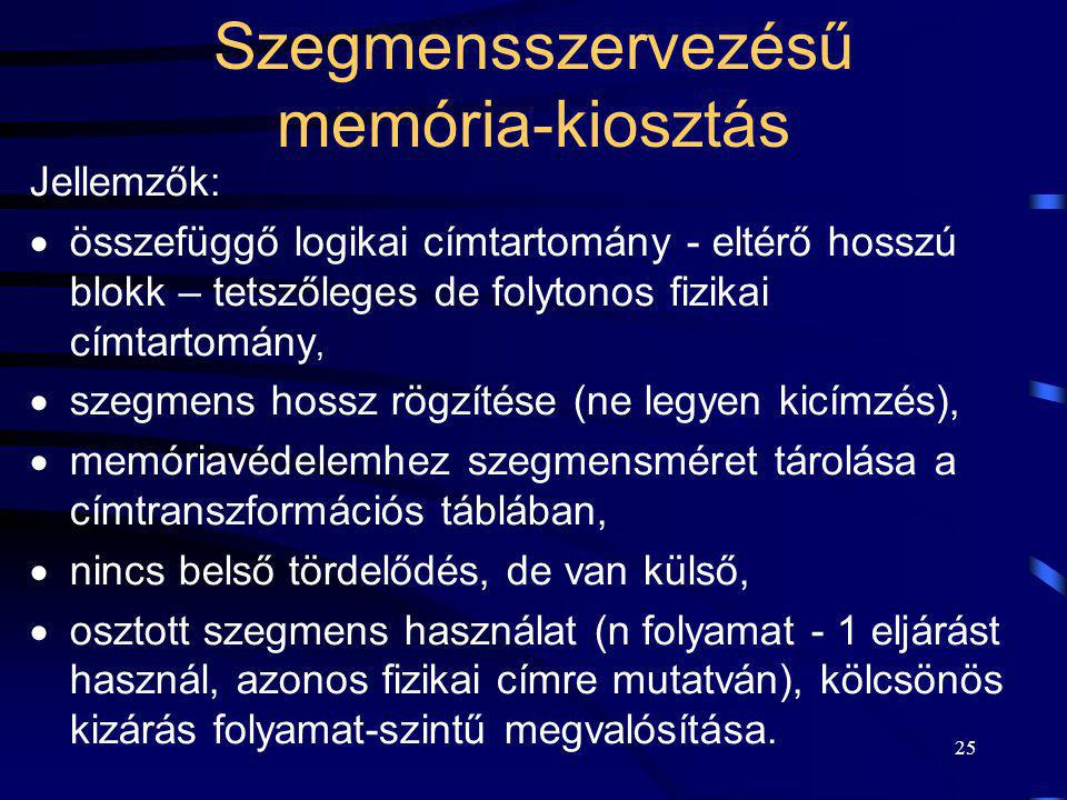 Szegmensszervezésű memória-kiosztás