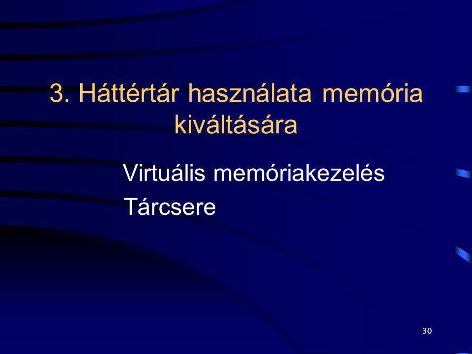 3. Háttértár használata memória kiváltására