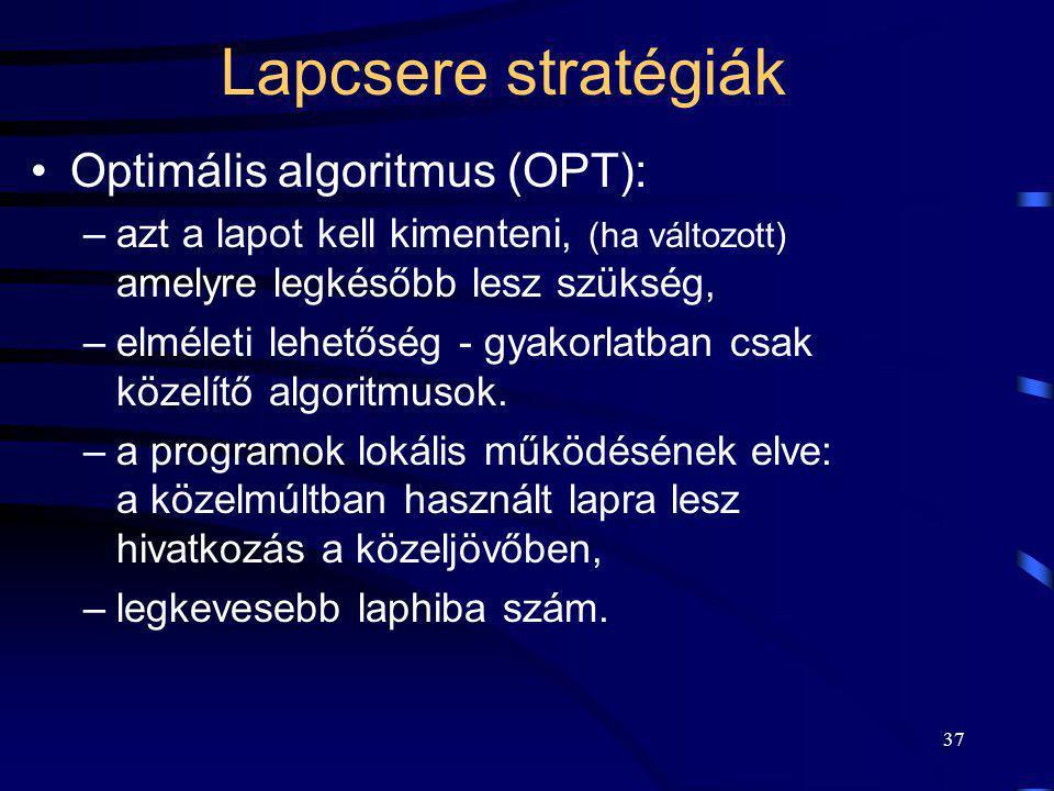 Lapcsere stratégiák Optimális algoritmus (OPT):
