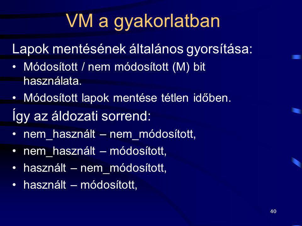 VM a gyakorlatban Lapok mentésének általános gyorsítása: