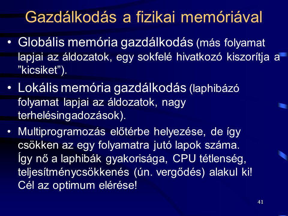 Gazdálkodás a fizikai memóriával