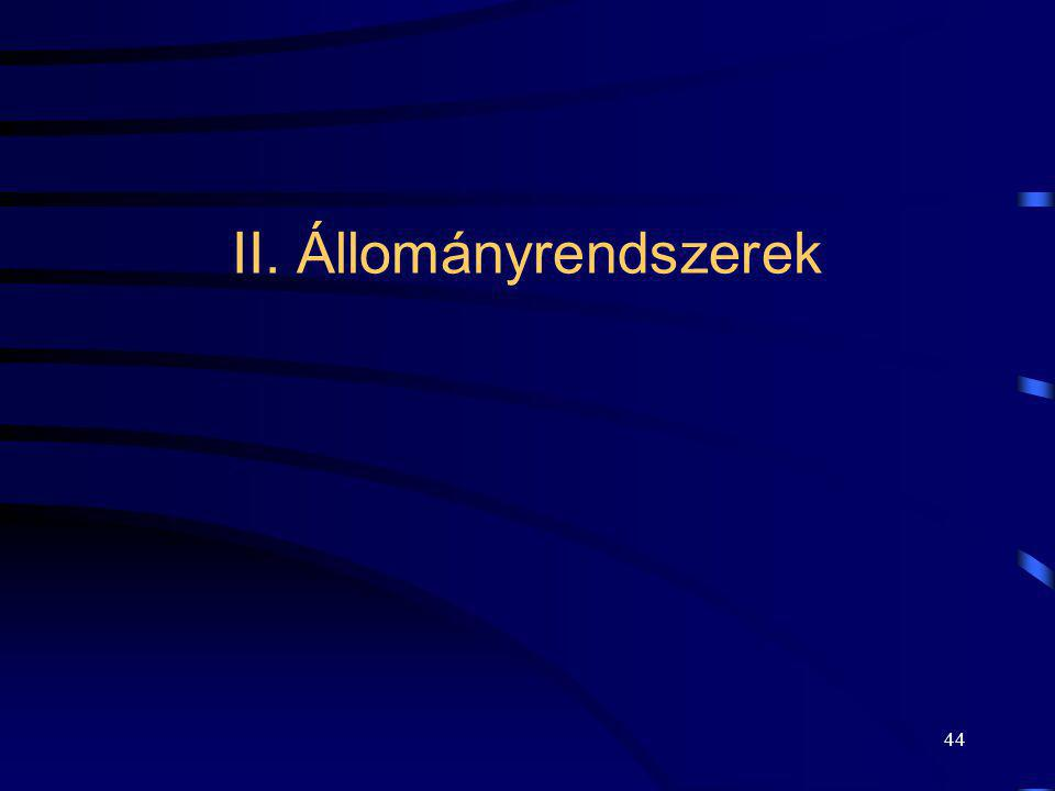II. Állományrendszerek