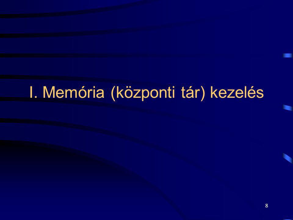I. Memória (központi tár) kezelés