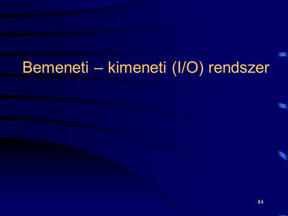 Bemeneti – kimeneti (I/O) rendszer